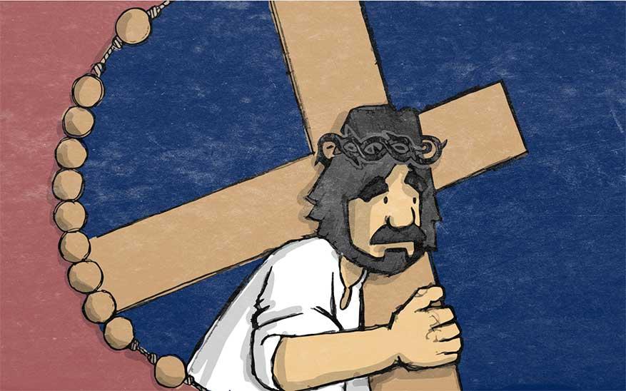 Jezus draagt zijn kruis naar de berg van Calvarië - Droevige Geheimen - Rozenkrans