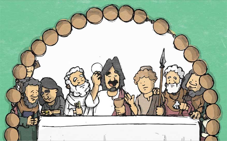 Jezus stelt de eucharistie in tijdens het Laatste Avondmaal  - Geheimen van Licht - Rozenkrans