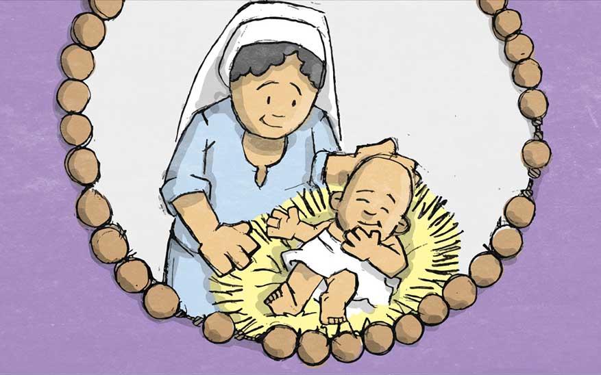 Jezus wordt geboren in een stal van Bethlehem - Blijde Geheimen - Rozenkrans