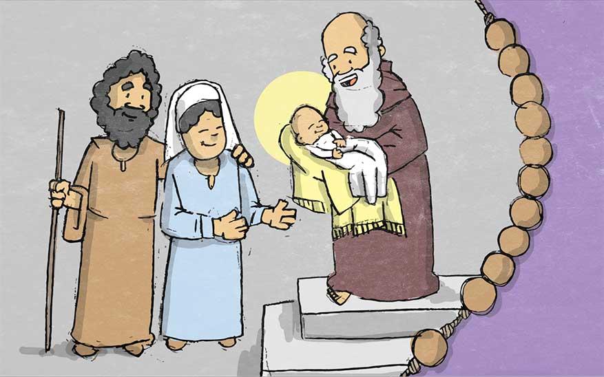 Jezus wordt in de tempel aan God opgedragen - Rozenkrans