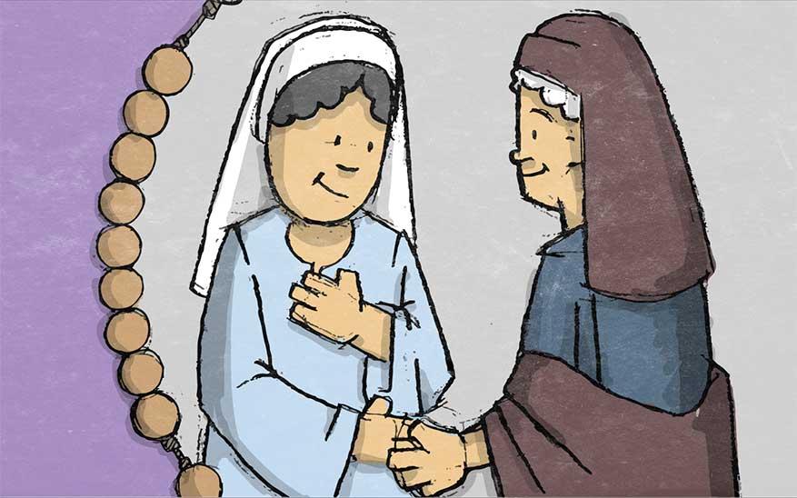 Maria bezoekt haar nicht Elisabeth - Blijde Geheimen - Rozenkrans